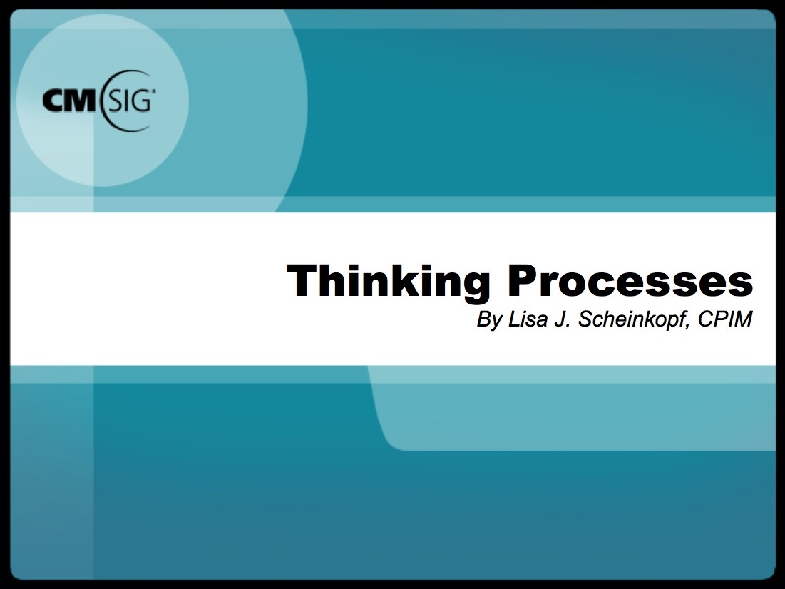 Concepts And Principles Workshop Series  Thinking Processes